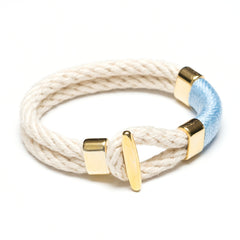 T Bar Bracelet - Ivory/Light Blue/Gold