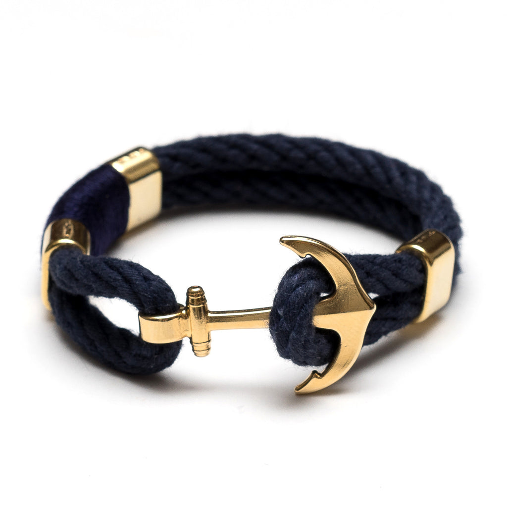 Nautical Navy Blue Gold Rope Anchor Bracelet