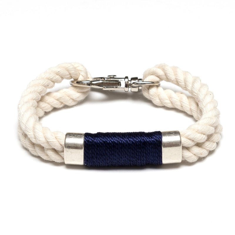 Nautical Ivory Navy Blue Rope Silver Clasp Bracelet