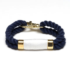 Nautical Navy Blue White Rope Gold Clasp Bracelet