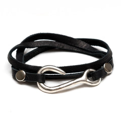 Black Leather Silver Fish Hook Wrap Bracelet