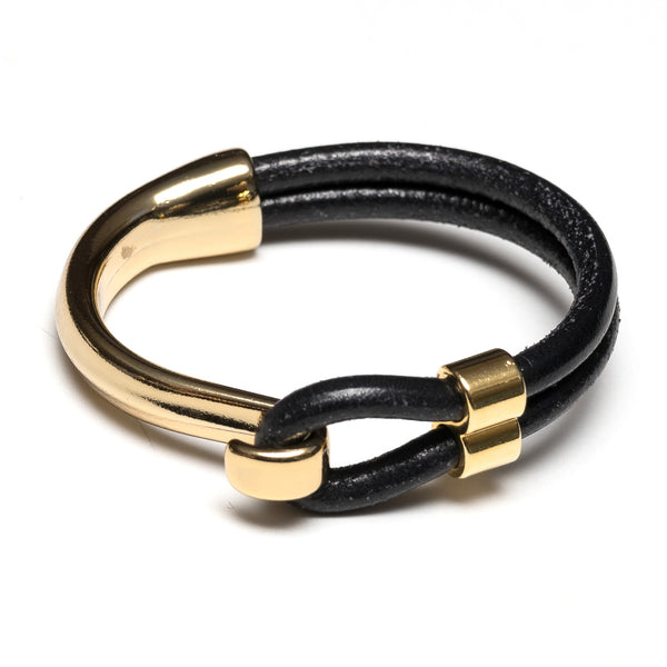 Hampstead - Black Leather/Gold