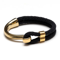 Nautical Black Rope Gold Half Hook Clasp Bracelet