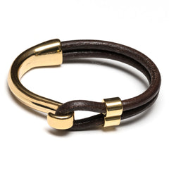Brown Leather Gold Half Hook Clasp Bracelet