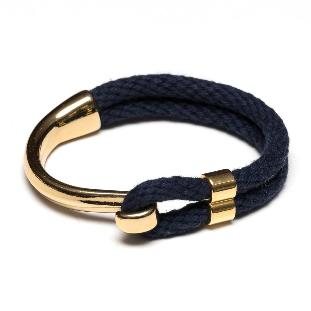 Nautical Navy Blue Rope Gold Half Hook Clasp Bracelet