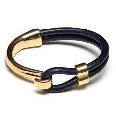 Navy Blue Leather Gold Half Hook Clasp Bracelet