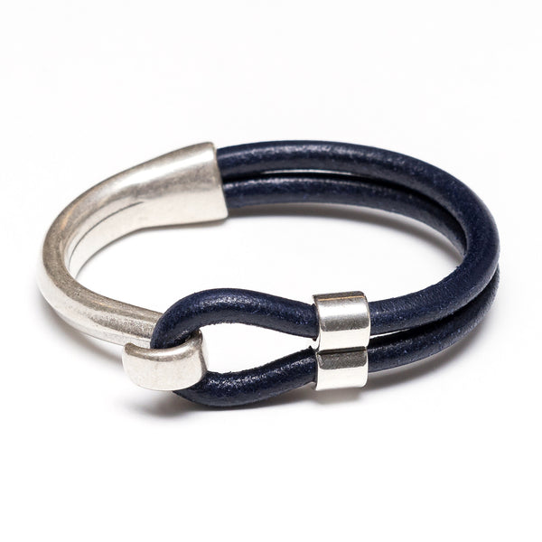 Hampstead - Navy Leather/Silver