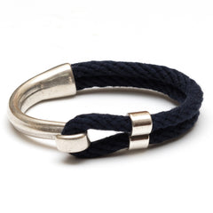 Nautical Navy Blue Rope Silver Half Hook Clasp Bracelet