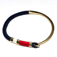 Nautical Navy Blue Red White Rope Gold Half Hook Choker Necklace