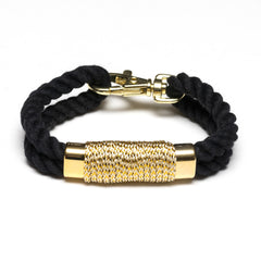 Nautical Black Rope Metallic Gold Bracelet