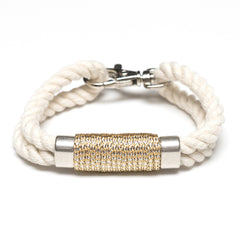 Nautical Ivory Rope Metallic Silver Bracelet