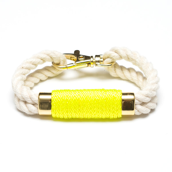 Double Rope Bracelet - Ivory/Neon Yellow/Gold