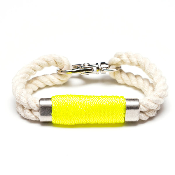 Double Rope Bracelet - Ivory/Neon Yellow/Silver