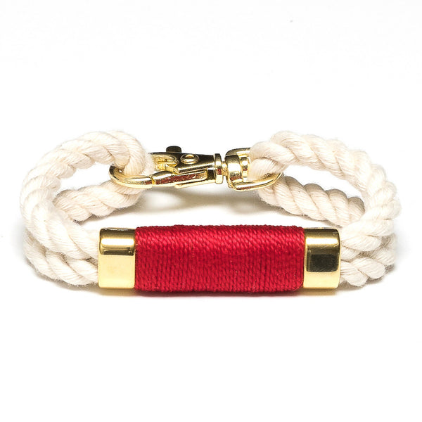 Double Rope Bracelet - Ivory/Red/Gold