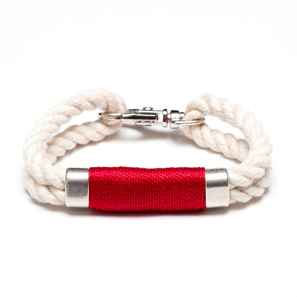 Double Rope Bracelet - Ivory/Red/Silver