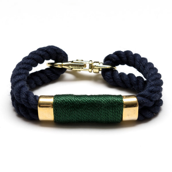 Double Rope Bracelet - Navy/Green/Gold