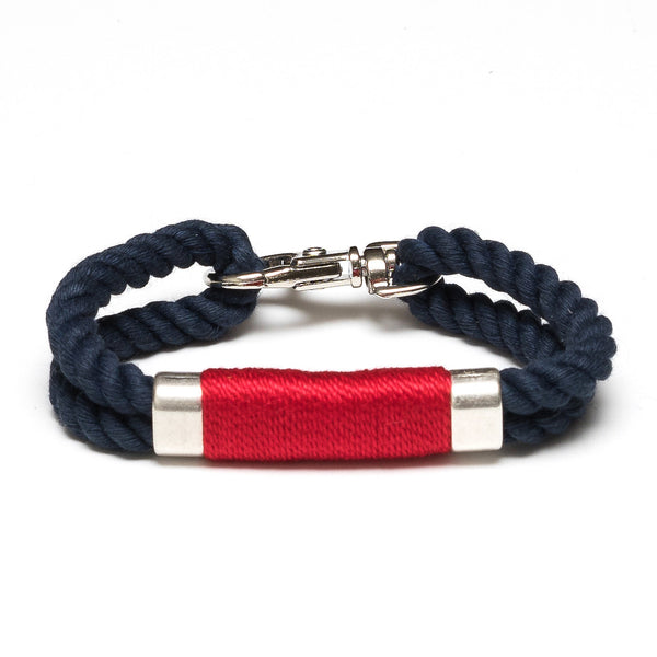 Double Rope Bracelet - Navy/Red/Silver