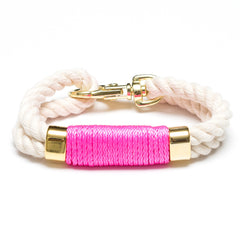 Double Rope Bracelet - Ivory/Neon Pink/Gold