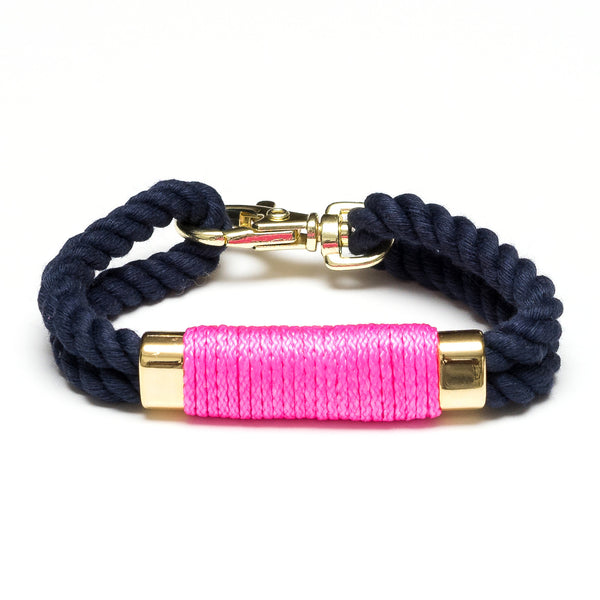 Double Rope Bracelet - Navy/Neon Pink/Gold