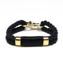 Nautical Black Rope Gold Clasp Bracelet