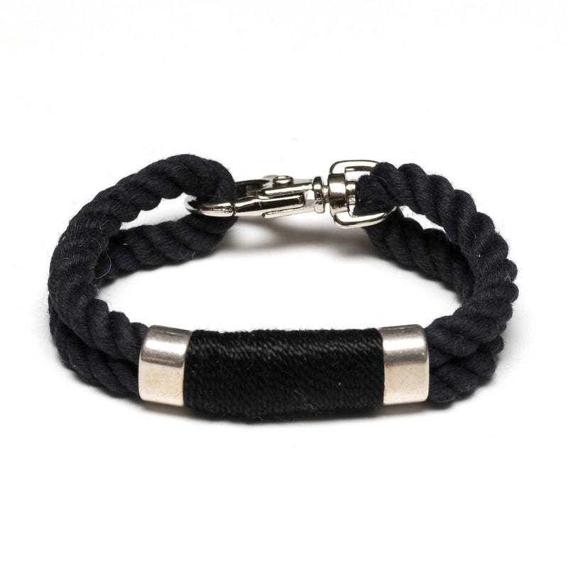 Nautical Black Rope Silver Clasp Bracelet