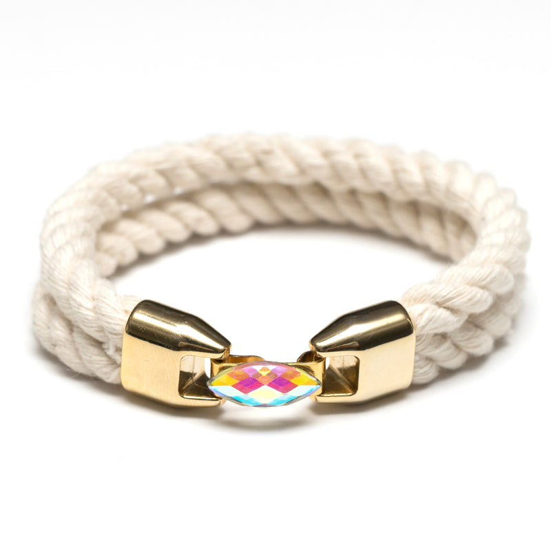 Nautical Ivory Rope Rhinestone Gold Bracelet
