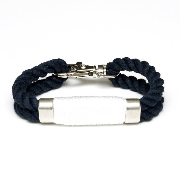 Double Rope Bracelet - Navy/White/Silver