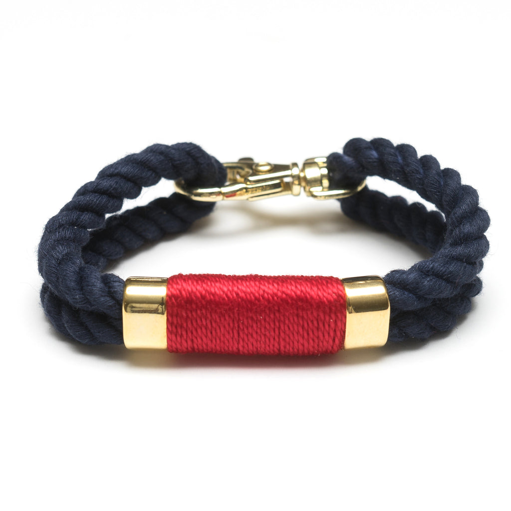 Nautical Navy Blue Red Rope Gold Clasp Bracelet