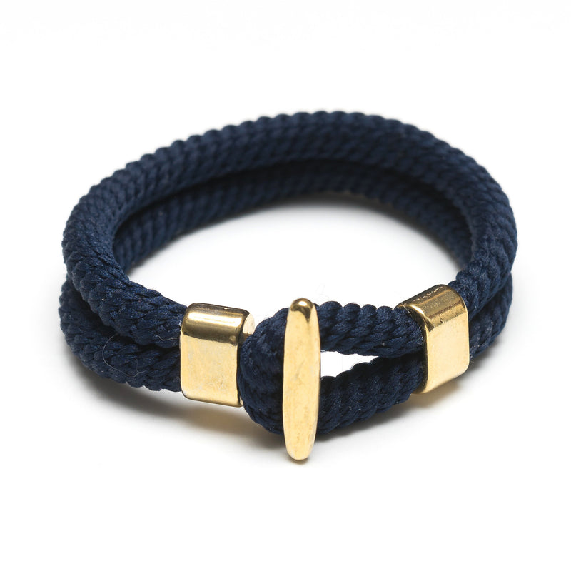 Nautical Navy Blue Rope Gold T Bar Cleat Clasp Bracelet
