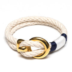 Nautical Ivory Rope Navy Blue White Gold Clasp Bracelet