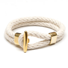 Nautical Ivory Rope Gold T Bar Cleat Clasp Bracelet