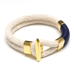 Nautical Ivory Navy Blue Rope Gold T Bar Cleat Clasp Bracelet