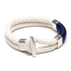 Nautical Ivory Navy Blue Rope Silver T Bar Cleat Clasp Bracelet