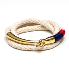Nautical Ivory Navy Blue Red Triple Wrap Gold Hook Clasp Bracelet