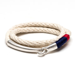 Nautical Ivory Navy Blue Red Triple Wrap Silver Hook Clasp Bracelet