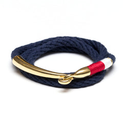 Nautical Navy Blue Red White Triple Wrap Gold Hook Clasp Bracelet