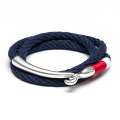 Nautical Navy Blue Red White Triple Wrap Silver Hook Clasp Bracelet