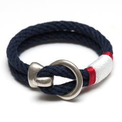 Nautical Navy Blue Red White Rope Silver Hook Clasp Bracelet