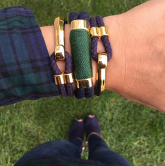 Nautical Navy Blue Hunter Green Rope Gold Clasp Bracelet