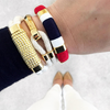 Nautical Navy Blue Red White Gold Patriotic Rope Bracelet