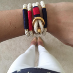 Nautical Ivory Red Rope Gold Clasp Bracelet