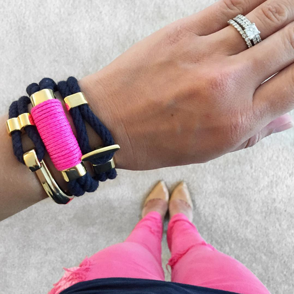 Nautical Navy Blue Neon Pink Rope Gold Clasp Bracelet