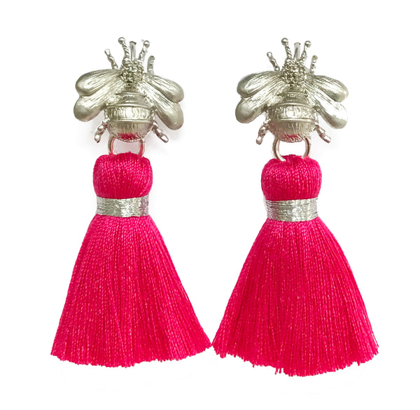 The 'Queen Bee' Tassel Earrings - Silver/Bright Pink