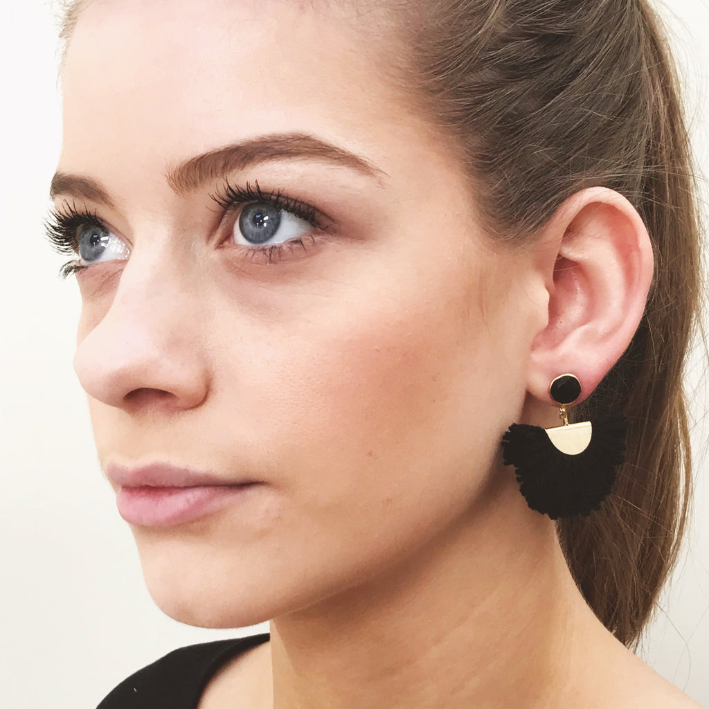 Cotton Fan Earrings - Black / Black Stone