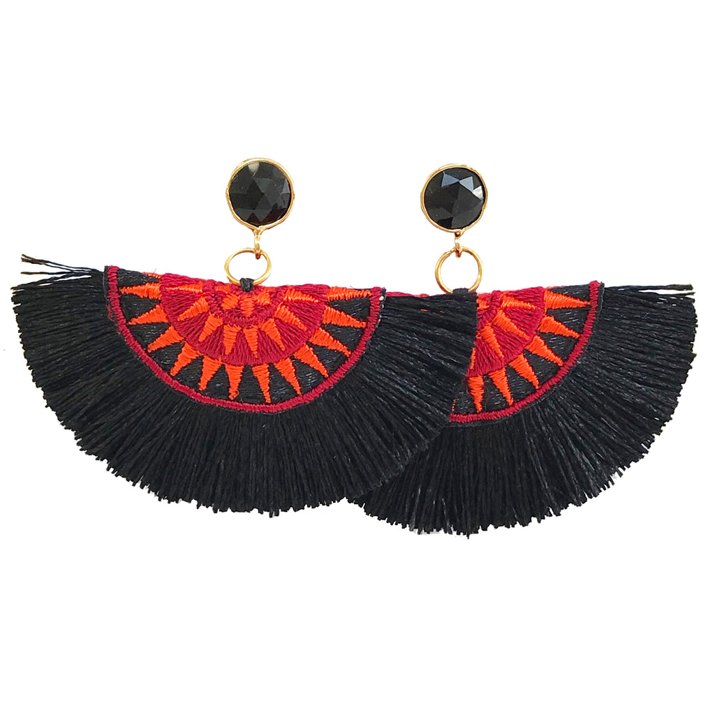 Fan Tassel Earrings - Black & Orange / Black Stone