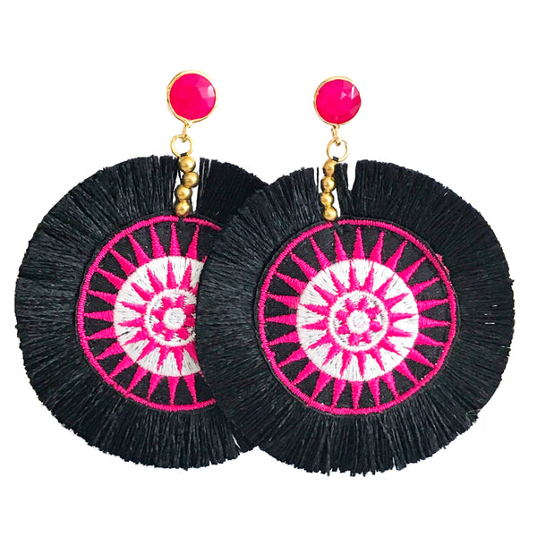 Fan Disc Tassel Earrings - Black with Pink / Pink Stone