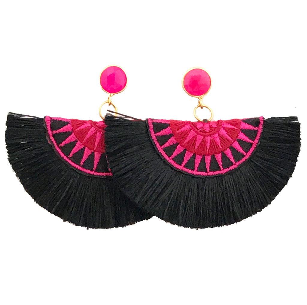 Fan Tassel Earrings - Black & Pink / Pink Stone