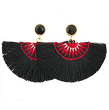 Fan Tassel Earrings - Black & Red / Black Stone
