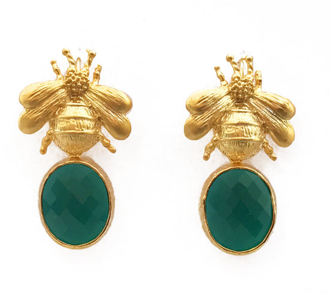 Gold Bee & Pendant Earrings - Emerald Green