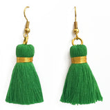 Simple Gold Hook & Tassel Earrings - Emerald Green